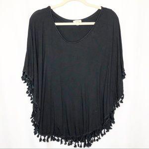 Kori poncho style blouse black tassels size small